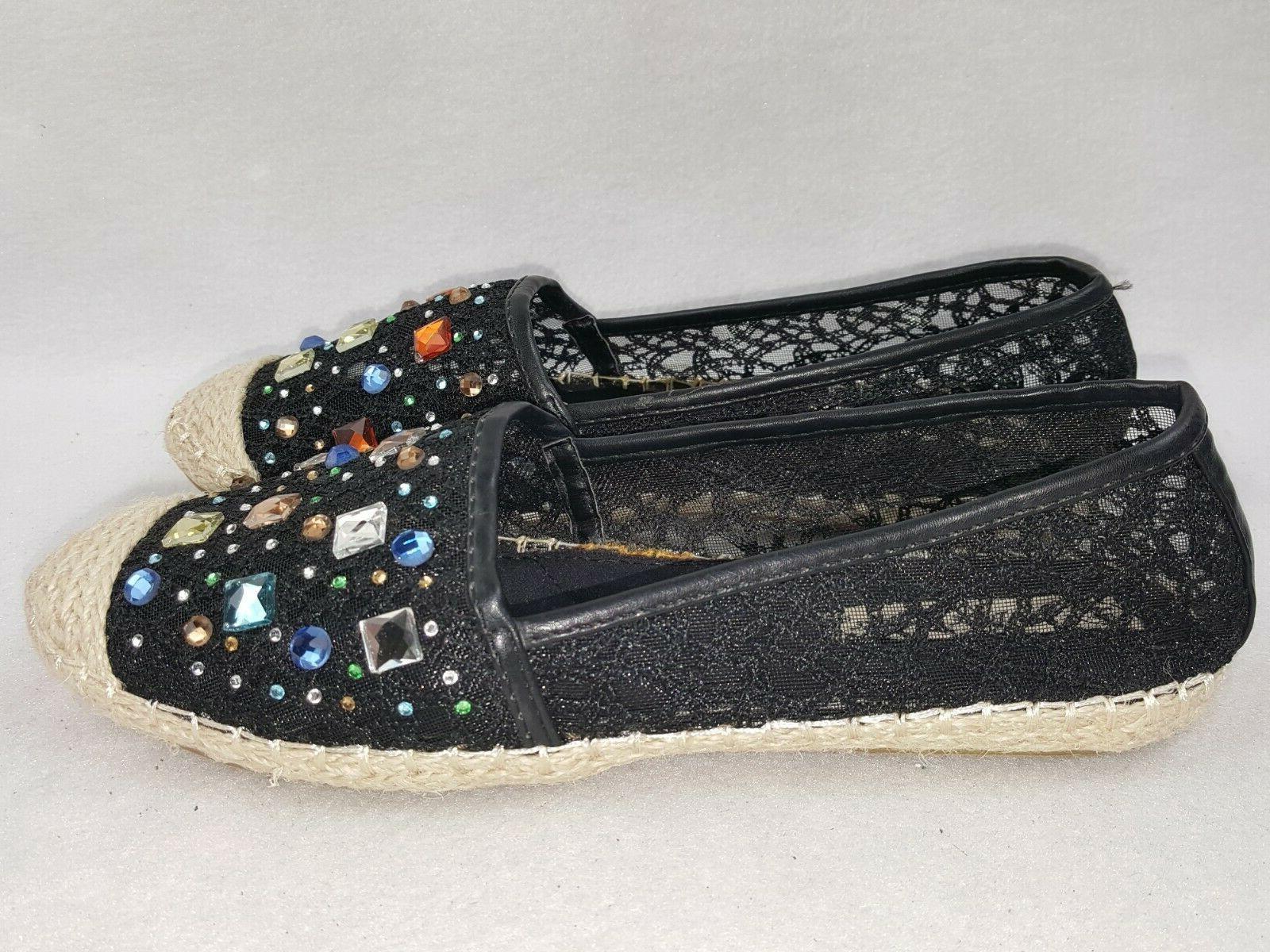 Rhinestone Slip On Loafers Organic