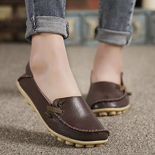 Lucksender Womens Leather Comfort Driving Loafers 8B US Coffee