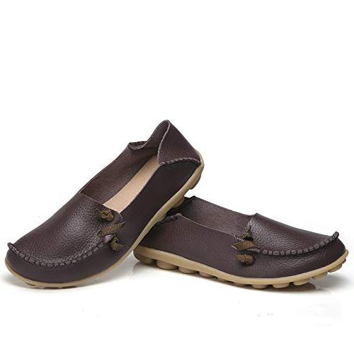 Lucksender Soft Comfort Driving Loafers Shoes 8B US Coffee