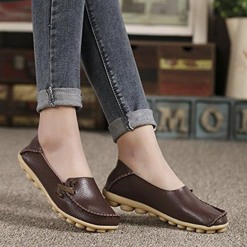 Lucksender Womens Comfort Loafers 8B US Coffee