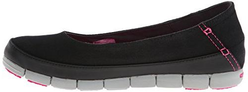 crocs Women's Flat Slip-On Loafer, Black/Light Grey, US