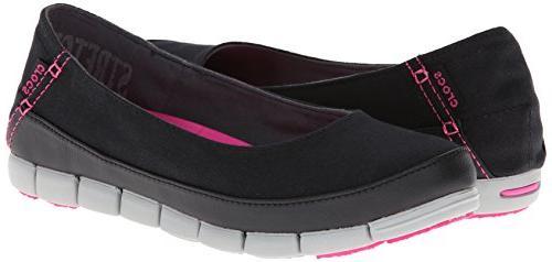 crocs Women's Stretch Flat 15317 Slip-On Black/Light US