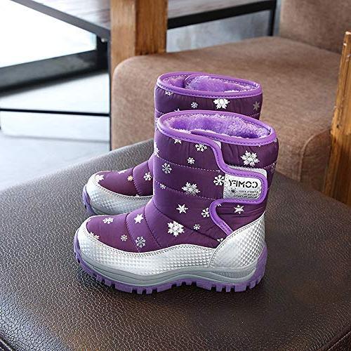 KONFA Boys Winter Snow 4-8 Anti-Slip Crib Shoes