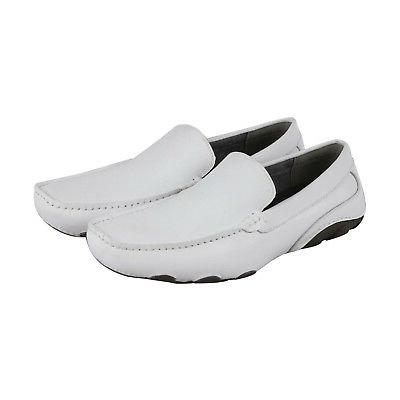 toast driver mens white casual dress loafers