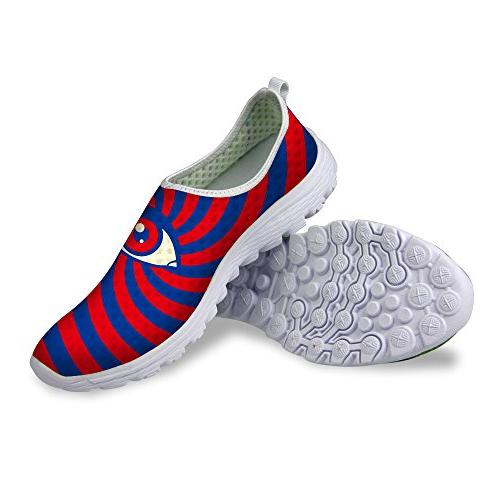 FOR U DESIGNS Fashion Big Blue Pattern Breathable Shoes For Womens-Size