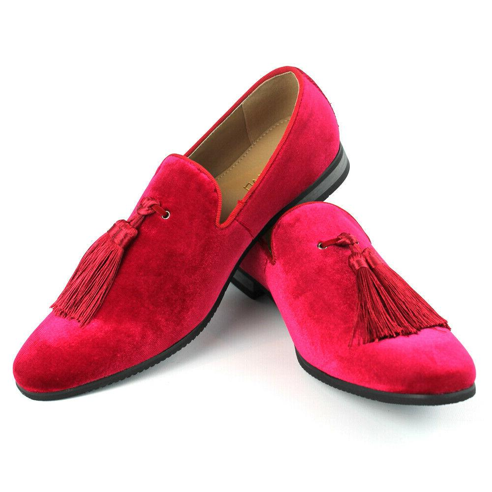 velvet slip on loafers handmade tassel modern