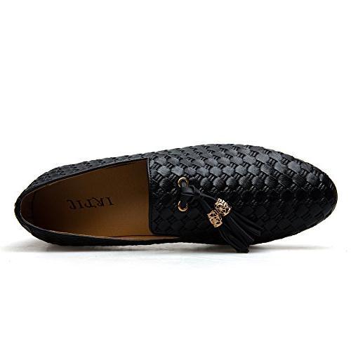 Men's Embroidery Noble Loafer Tassel Black)