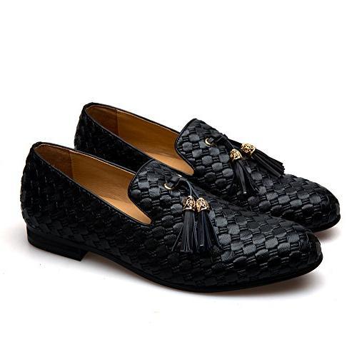 Men's Vintage Embroidery Noble Shoes Slip-on Loafer Smoking Slipper Tassel
