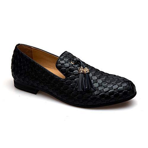 Men's Vintage Velvet Embroidery Noble Shoes Slip-on Tassel Loafer Black)