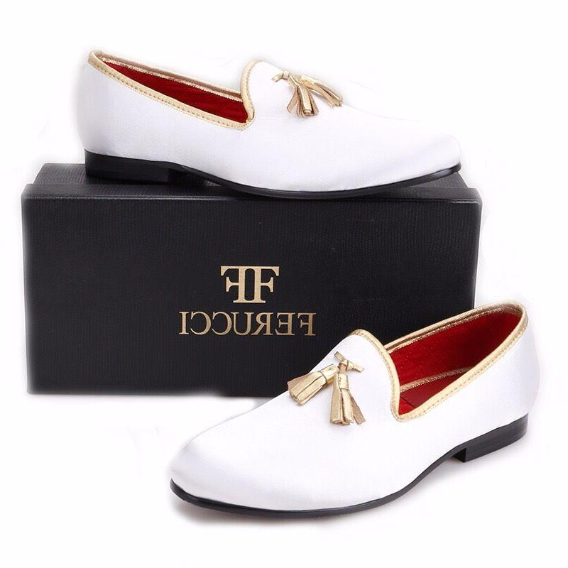 FERUCCI white custom-made Velvet Slippers loafers with gold