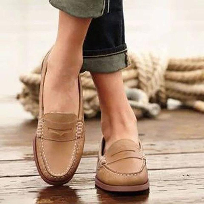 WOMEN LEATHER MOCCASINS SHOES LOAFERS CASUAL PUMPS