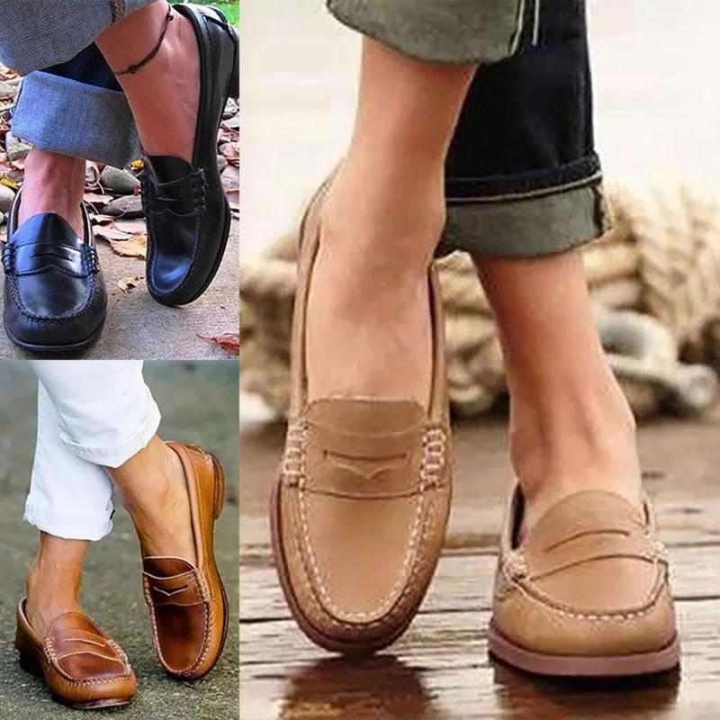 WOMEN FLAT LEATHER MOCCASINS SHOES SLIP-ON COMFY CASUAL SIZE