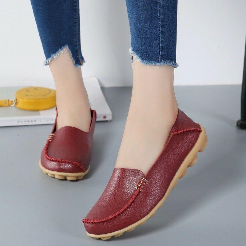 Women Leather  Flats Shoes Soft Slip On Casual Ballet Shoes