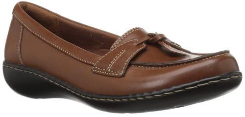 CLARKS Women's Ashland Bubble Slip-On Loafer Tan Leather 8.5