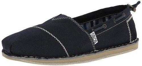 Women's BOBS SKECHERS-CHILL Navy Canvas MEMORY FOAM Loafers