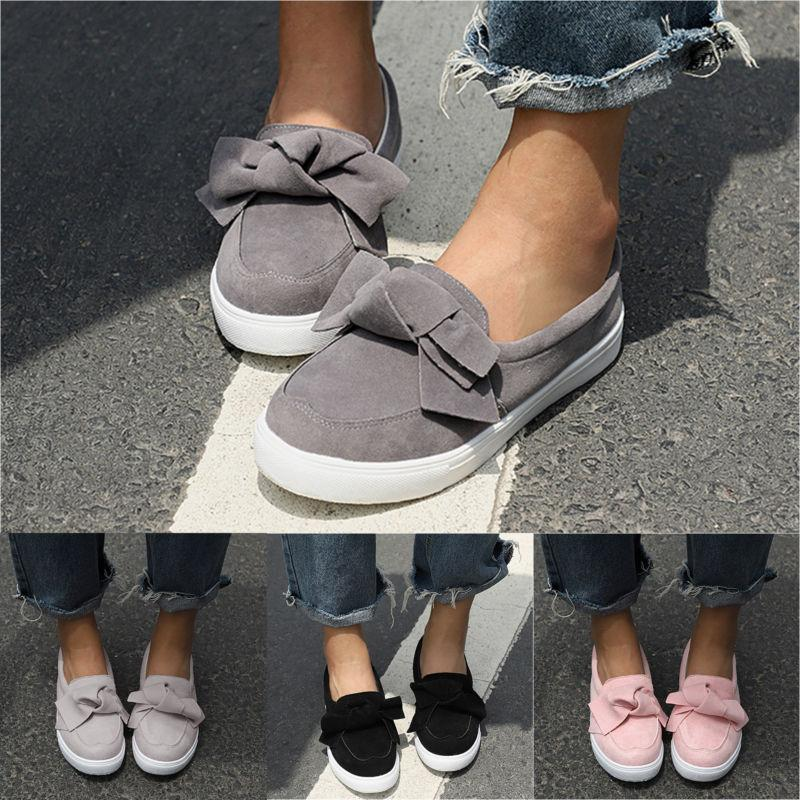 Women's Low Flat School Dolly Loafers Bow Creeper Slip Shoes Size