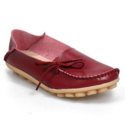 52f0fc51698 SHIBEVER Women s Leather Loafers Shoes Wild Driving Casual F