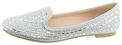Bella Marie Women's Rhinestone Embellished Smoking Slipper L