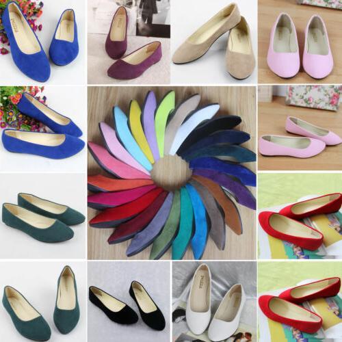 Women Flats Ballerina Pumps Ballet Csaual Dress Shoes Slip On Size