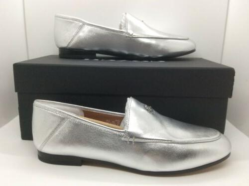 womens hallie silver leather moc toe loafers