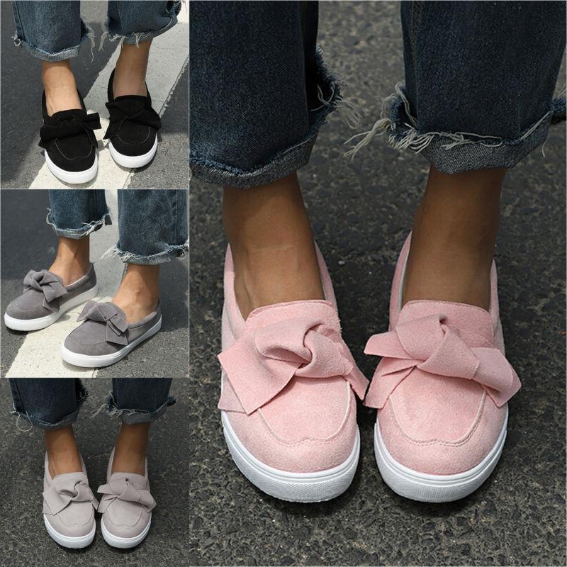 Women's Ladies School Bow Creeper Shoes Size