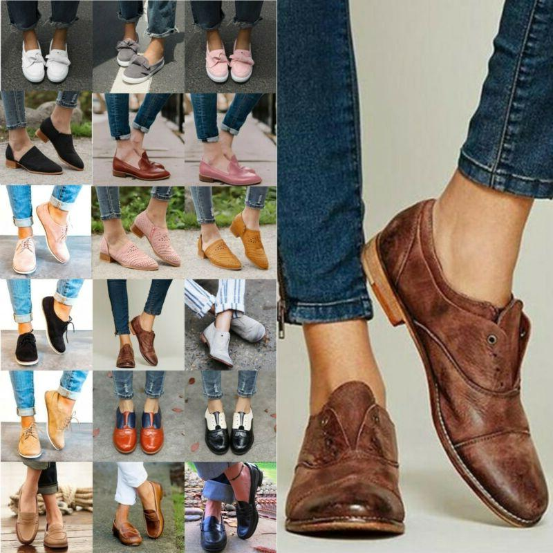 womens leather brogues flats heels slip on