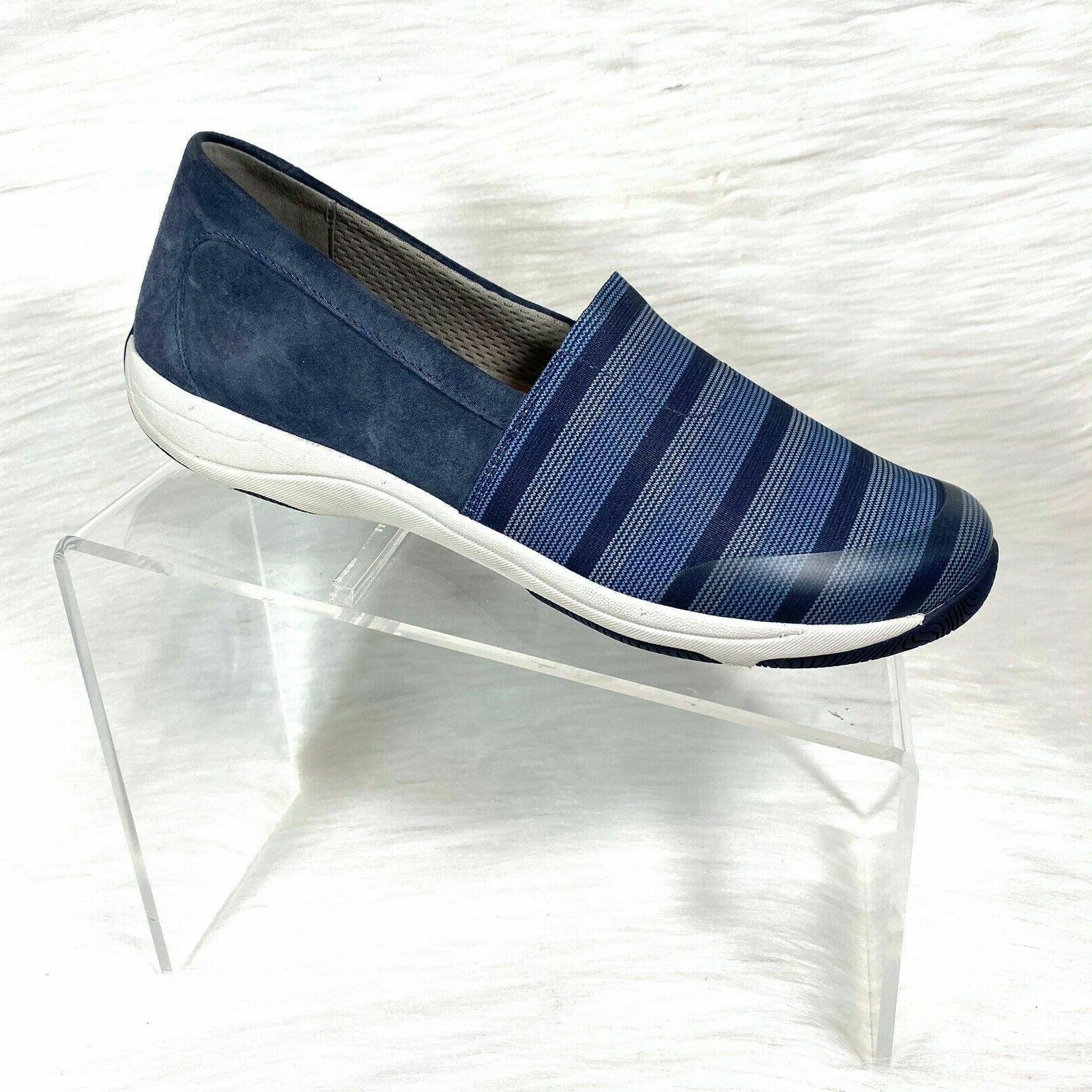 womens loafers blue stripe canvas fabric slip