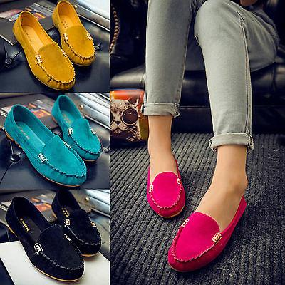 Women Suede On Flat Loafers Casual Ballet Shoes US