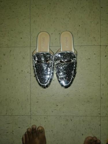 Bella Marie Womens Sequin Horsebit On Loafer Mules Shoes Slipper 6