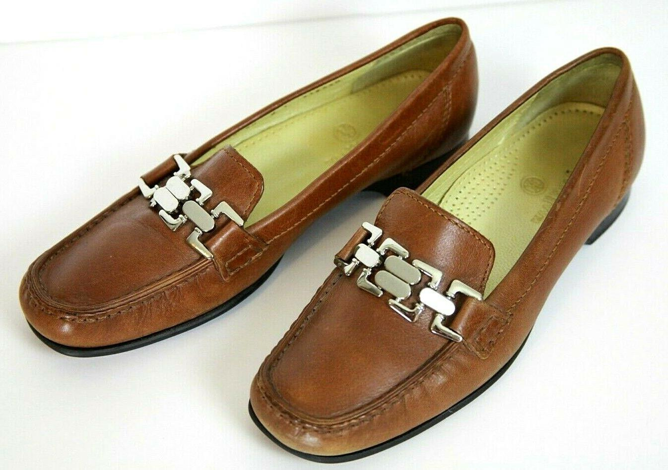 womens size 7b loafers dress shoes brown