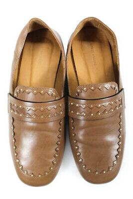 Isabel Womens Studded Collapsible Loafers Brown