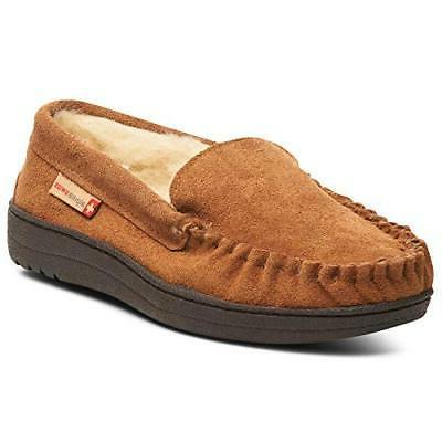 yukon suede shearling moccasin slippers