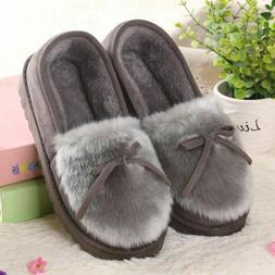 Ladies Winter Fur Slippers Indoor Home Shoes Loafers Solid P