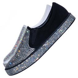 Lexy1 Rhinestone Crystal Platform Sneaker - Slip On Studded