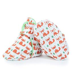 Lightweight Organic Cotton Baby Booties - Grippers, 3 Snaps