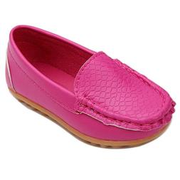 LONSOEN Toddler Little Kid Boys Girls Soft Slip On Loafers D