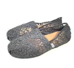 M5614 New Women's Tom's Black Crochet Classic Loafer Us 6 M
