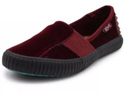 Blowfish Malibu Women Shanghai Wine Velvet Slip On Flat Loaf