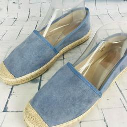 BELLA MARIE MANDY Blue Suede Espadrille Loafer Flats ~ Women