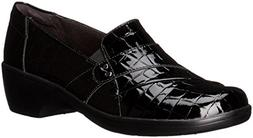 CLARKS Women's May Marigold Slip-On Loafer, Black Crocodile,