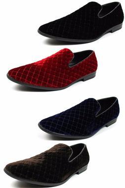 Men's Alberto Fellini Velvet Diamond Stitch Slip On Loafers