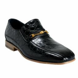 Versace Men's Black Croc Print Leather Loafers Shoes Sz 6 7