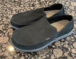 Crocs Men's Black Suede Grey Loafers Size 9 14767