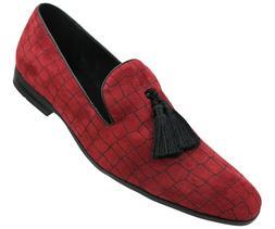 Men's Exotic Velvet Loafer Slip On with Black Fabric Tassel