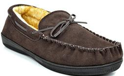 DREAM PAIRS Men's Fur-Loafer-01 Brown Suede Slippers Loafers