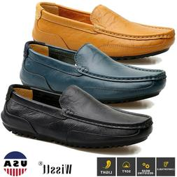 Men's Leather Driving Penny Loafers Flats Slip On Moccasins