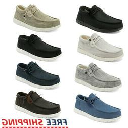 Men's Casual Lightweight Canvas Moc Loafer Shoes Slip On Wal