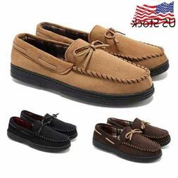 Men's Moccasin Loafers Velvet Driving Flats Soft Rubber Slip