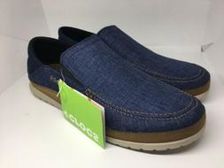 crocs Men's Santa CRUZ Playa Slip-On Loafer, Navy Cobbleston