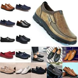 Men's Slip On Canvas Leather Zip Casual Driving Shoes Loafer